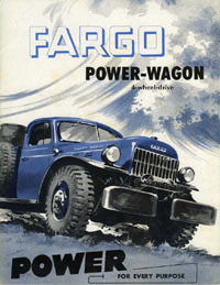 Fargo Power Wagon brochure, with pictures of factory implements.